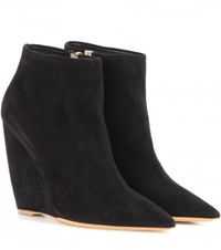 Nicholas Kirkwood Lizy Suede Wedge Ankle Boots Black