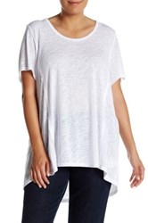 Bobeau Slub Knit Scoop Neck Tee Plus Size White