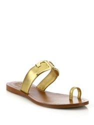 Tory Burch Marcia Metallic Leather Toe Ring Slides Gold