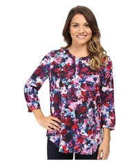 Nydj Petite Solid 3 4 Sleeve Pleat Back Loverly Blossoms Women's Long Sleeve Pullover Multi