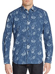 Saks Fifth Avenue Floral Chambray Button Front Shirt Denim Blue