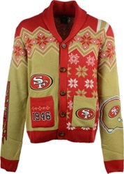 Forever Collectibles Men's San Francisco 49Ers Holiday Cardigan Red Gold