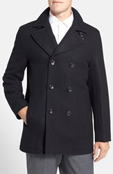 Men's Michael Kors Wool Blend Double Breasted Peacoat Black