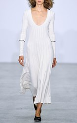 Barbara Casasola Bahia Long Sleeve Knit Dress White
