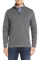 Bugatchi Men's Stripe Mock Neck Quarter Zip Pullover Sweater Graphite