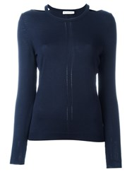 Altuzarra Cut Off Shoulders Knitted Blouse Blue