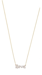 Kacey K Diamond Script Love Necklace Gold Clear