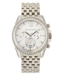 Michael Michael Kors Pressley Pearlized Stainless Steel Chronograph Watch White