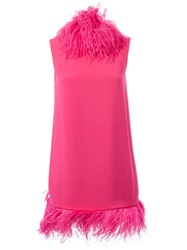 Gianluca Capannolo Feather Trimmed Dress Pink And Purple