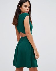 Club L Ribbed Cross Back Skater Dress Forest Green