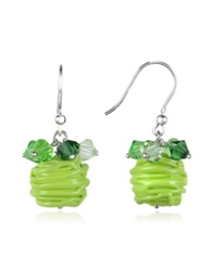 Forzieri Gomitoli Murano Glass Bead Earrings Green