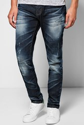 Boohoo Fit Washed And Abraised Jeans Navy