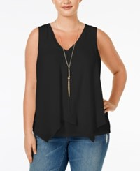 Ing Trendy Plus Size Layered Look Necklace Tank Top Black