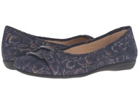 Trotters Sizzle Navy Washed Metallic Microfiber Suede Women's Dress Flat Shoes