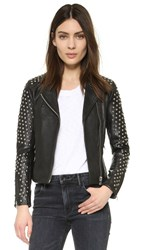 Doma Capri Powder Studded Biker Jacket Black