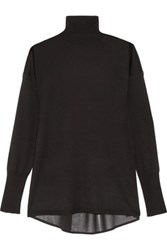 J Brand Clinton Crepe Paneled Merino Wool Turtleneck Sweater Black