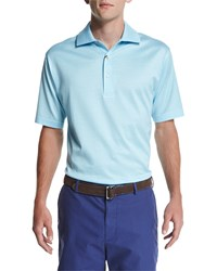 Peter Millar Jacquard Knit Short Sleeve Polo Shirt Light Blue