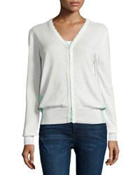 See By Chloe Long Sleeve Colorblock Cardigan Turquoise White Turquoise White
