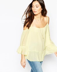 Wal G Cold Shoulder Cami Top With Frill Hem Yellow