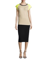 Reed Krakoff Cap Sleeve Colorblock Dress Black Bisque