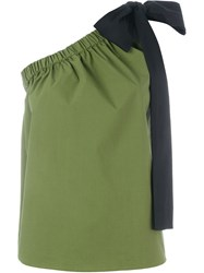Msgm One Shoulder Top Green