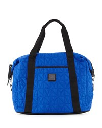 Nicole Miller City Life Quilted Large Duffle Bag Azure Blue Black