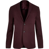 River Island Mens Red Washed Cotton Skinny Blazer