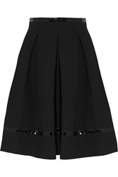 Tamara Mellon Pleated Patent Leather Trimmed Scuba Jersey Skirt Black