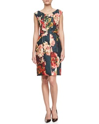J. Mendel Floral Print Gazar Cocktail Dress