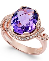 Macy's Amethyst 4 3 8 Ct. T.W. And Diamond 1 3 Ct. T.W. Swirl Ring In 14K Rose Gold