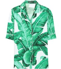 Dolce And Gabbana Printed Silk Shirt Green
