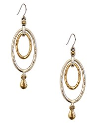 Lucky Brand Two Tone Layered Drop Earrings