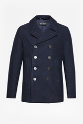 French Connection Men's Marine Melton Peacoat Blue