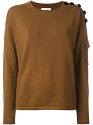 See By Chloe Buttoned Shoulder Jumper Nude And Neutrals