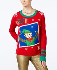 Hooked Up By Iot Juniors' Elfie Selfie Holiday Sweater Christmas Red