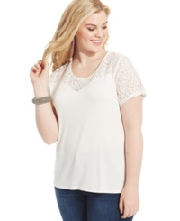 American Rag Plus Size Lace Trim Sweetheart Tee Egret