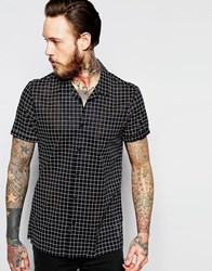 Asos Sheer Shirt In Monochrome Check With Revere Collar Black