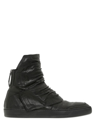 Alexandre Plokhov Wrinkled Goat Leather High Top Sneakers Black