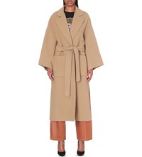 Loewe Oversized Wool And Cashmere Blend Wrap Coat Camel