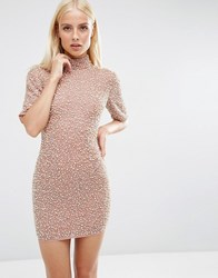 Asos Premium Pearl Scatter Mini Bodycon Dress Nude Pink