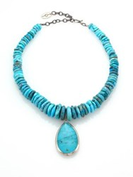 Chan Luu Turquoise And Sterling Silver Beaded Pendant Necklace