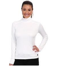 Hot Chillys Peach Roll T Neck White Women's Long Sleeve Pullover