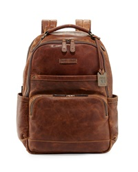 Logan Men's Pull Up Leather Backpack Cognac Frye