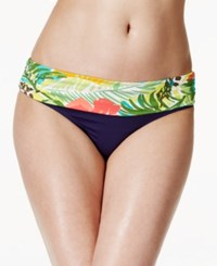 Anne Cole Island Time Printed Fold Over Hipster Bikini Bottoms Women's Swimsuit Multi