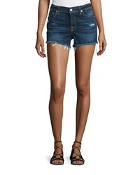 7 For All Mankind Mid Rise Cut Off Denim Shorts Blue Women's Size 32