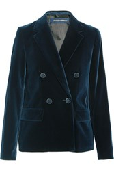 Vanessa Seward Clive Double Breasted Velvet Blazer Navy