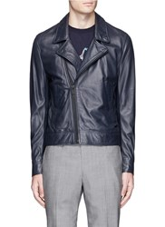Paul Smith Lambskin Leather Biker Jacket Blue