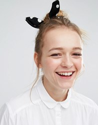 Monki Polka Dot Hair Scrunchie Black