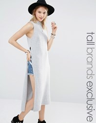 Glamorous Tall Sleeveless Longline Knitted Top With Cage Side Detail Grey