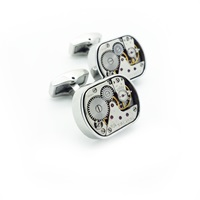 Lc Collection Vintage Watch Movement Cufflinks Plated Rhodium Silver